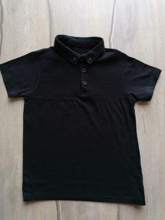 Primark póló fekete színű, galléros, gombos (122)