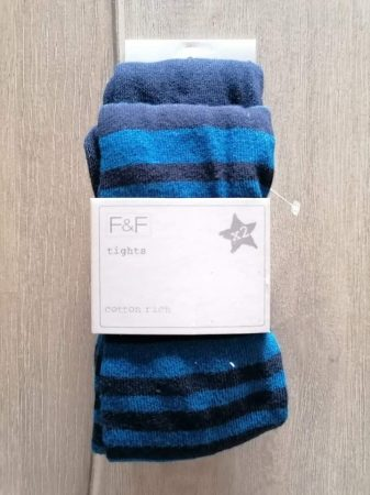 F&F harisnyanadrág szett 2db-os s.kék, csíkos Új-címkés (104)
