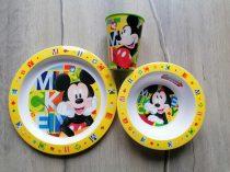 Mickey étkészlet, pohárral ÚJ