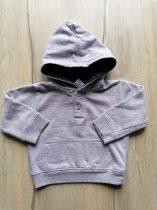 Baby pulóver v.szürke, kapucnis, gombokkal (74)