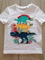 C&A póló fehér, színes dinó mintás Új-címkés (128)