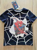 C&A póló s.kék, simogatós flitteres Pókember mintás Új-címkés (98)