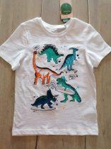 C&A póló fehér színű, színes dinó mintás Új-címkés (134)