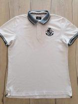 KVL póló fehér színű, galléros, emblémás (164)