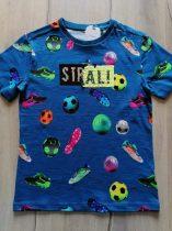 Next póló kék, simogatós, foci mintás Új-címkés (122)