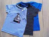 Next póló szett 3db-os csíkos, vitorlás mintás Új-címkés (80)