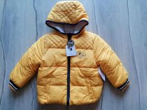 C&A kabát sárga színű, ki-be fordítható, feliratos Új-címkés (80)