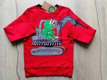 C&A pulóver piros, markoló, dinó mintás Új-címkés (134)
