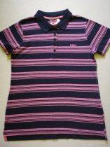Lee Cooper sötétkék-rózsaszín csíkos galléros póló