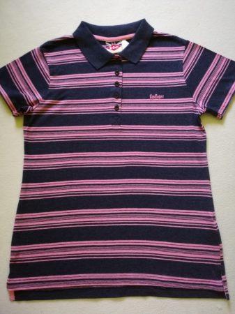 Lee Cooper sötétkék-rózsaszín csíkos galléros póló (152)