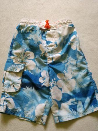 F&F kék-fehér virágmintás strandnadrág (128)