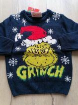 Primark pulóver kötött, Grinch mintás ÚJ-címkés (104)