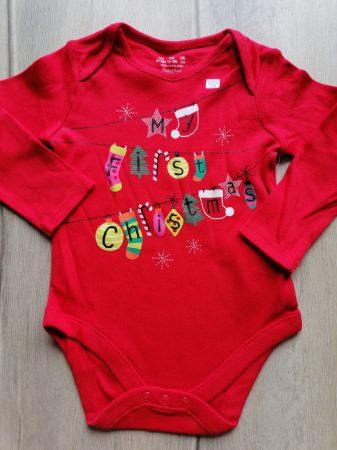 F&F body piros, karácsonyi mintás ÚJ-címkés (86)