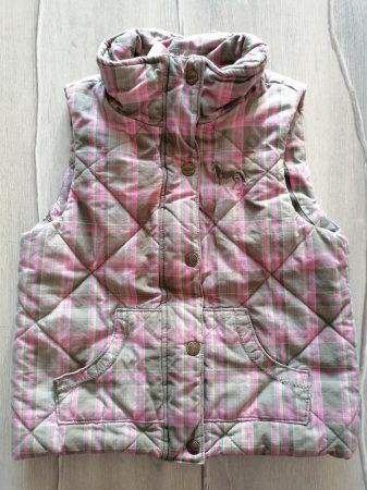 Yigga mellény rózsaszín-zöld kockás (140)