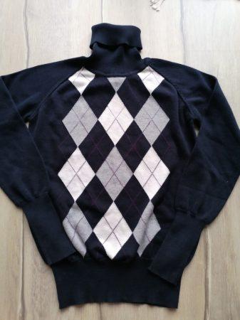 Zara pulóver garbós, fekete, kockás (158)