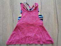 Matalan trikó A vonalú, színes csíkos edző toppal (152)