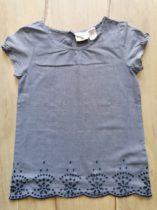H&M póló szürke színű, hímzett virágos (128)