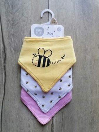 F&F nyálkendő szett 3db-os csíkos, méhecske mintás Új-címkés (68,74,80,86)