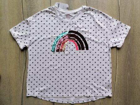 Next póló pöttyös, simogatós szivárvány mintás Új-címkés (152)