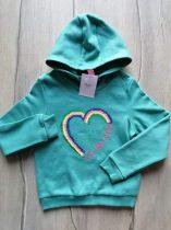 M&S pulóver kapucnis flitteres szív dísszel Új-címkés (116)