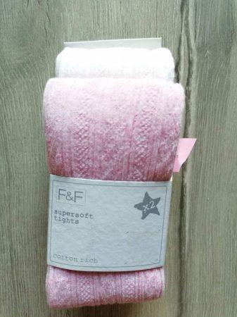 F&F harisnyanadrág szett 2db-os rózsaszín, fehér Új-címkés (128)