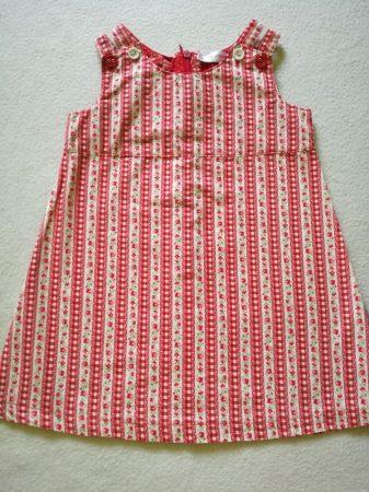 Piros apró virágos-kockás vászon ruha (86)