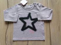 Next póló h.ujjú szürke, csillag mintás Új-címkés (80)