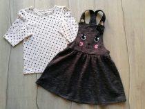 C&A póló h.ujjú+ruhácska kantáros szett cica dísszel Új-címkés (128)