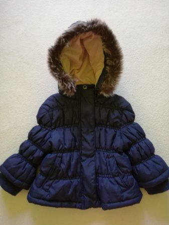 Tricky Tracks kék-rózsaszín kabát szőrös kapucnival (74)