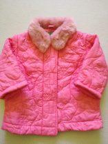 Benetton rózsaszín szőrös galléros kabát (68)