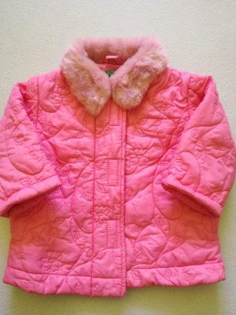 Benetton rózsaszín szőrös galléros kabát 68 cm