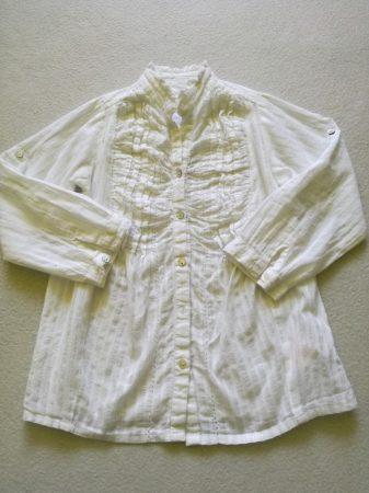 Girl2girl blúz fehér színben ezüst szálakkal (98)