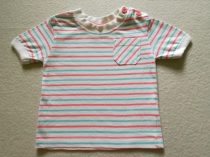 F&F póló fehér, rózsaszín-kék vékony csíkos (62)